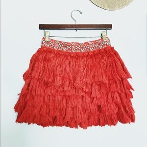 H&M Special Edition Red Beaded Tassel Skirt Size 2